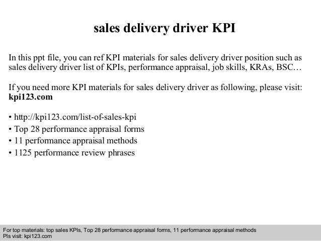 sales delivery driver kpi