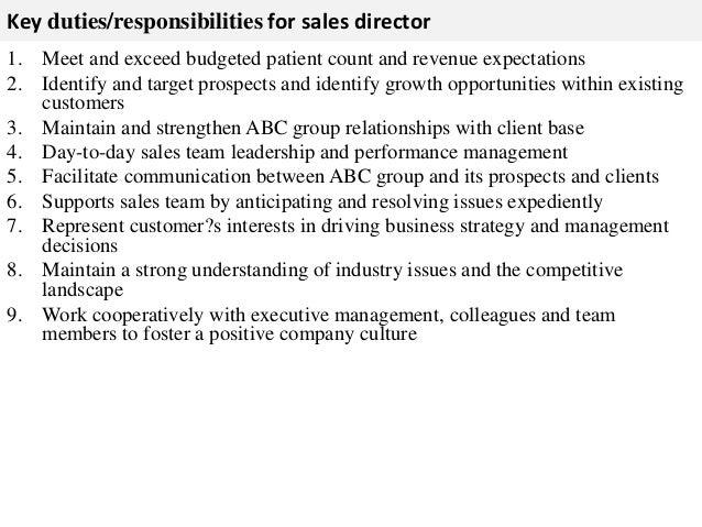 ... 2. Key Duties/responsibilities For Sales Director ...