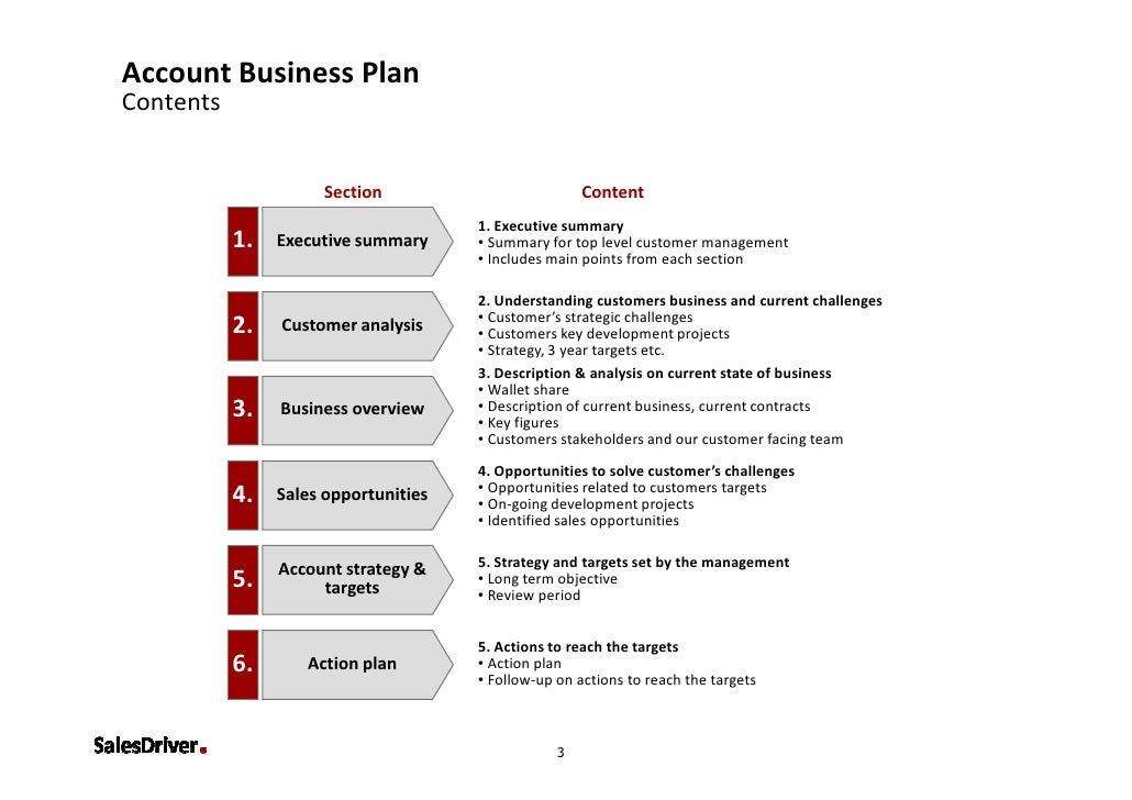 Main points of business plan