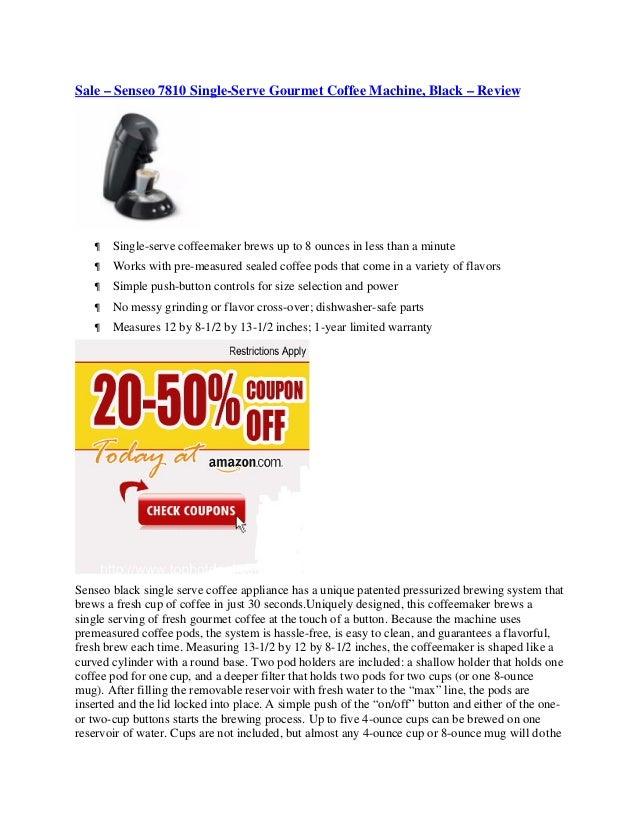 Sale – Senseo 7810 Single-Serve Gourmet Coffee Machine, Black – Review      Single-serve coffeemaker brews up to 8 ounces...
