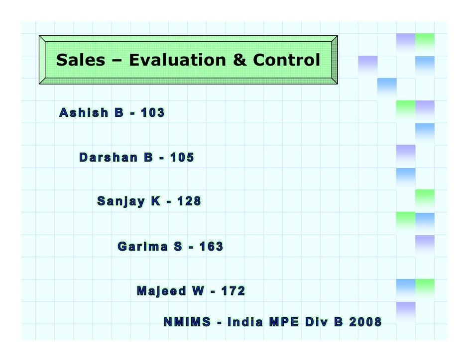 Sales – Evaluation & Control