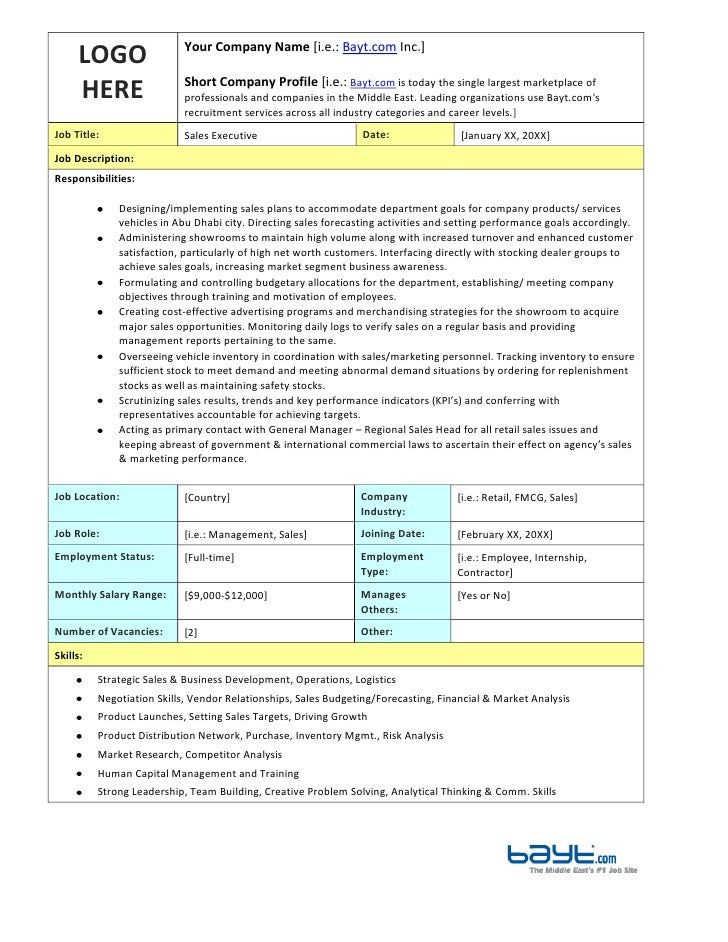 sales executive job description template by bayt com