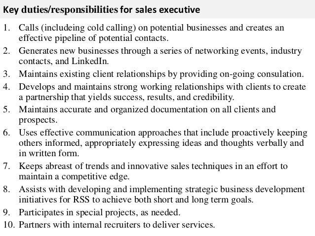 what is sales executive job description