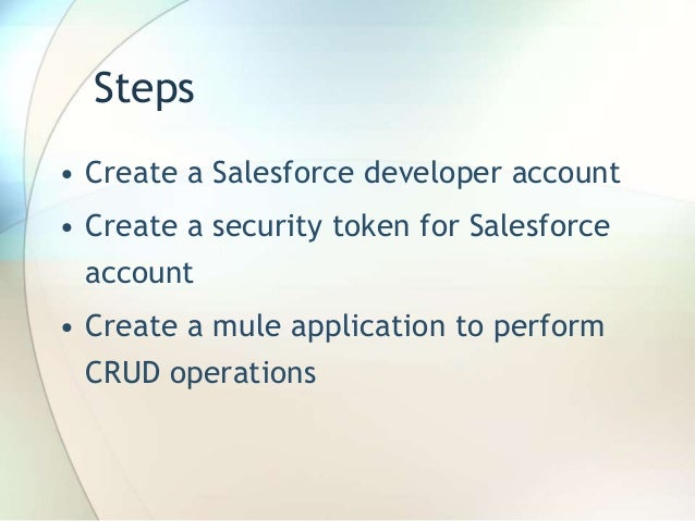 how to perform crud operation in salesforce using mule esb