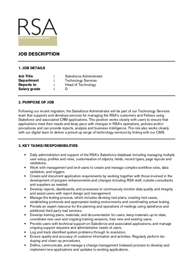 Elegant JOB DETAILS Job Title : Salesforce Administrator Department : Technology  Services Reports ...