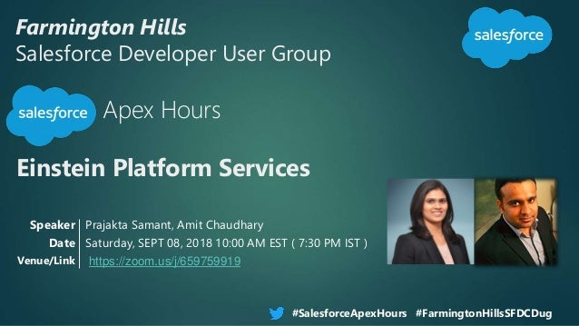 Farmington Hills Salesforce Developer User Group Apex Hours Einstein Platform Services #SalesforceApexHours #FarmingtonHil...