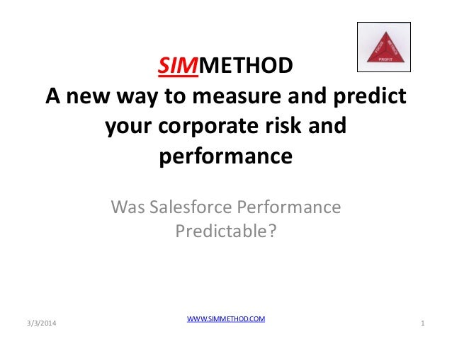 SIMMETHOD A new way to measure and predict your corporate risk and performance Was Salesforce Performance Predictable?  3/...