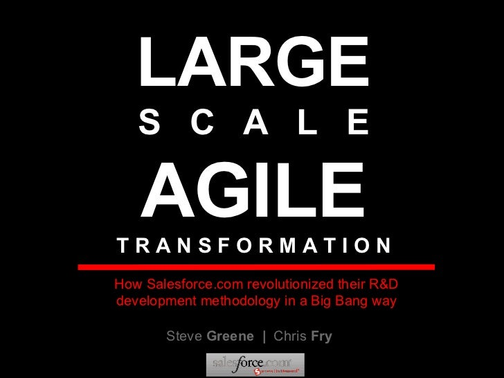 LARGE S  C  A  L  E AGILE T R A N S F O R M A T I O N Steve  Greene  |  Chris  Fry How Salesforce.com revolutionized their...