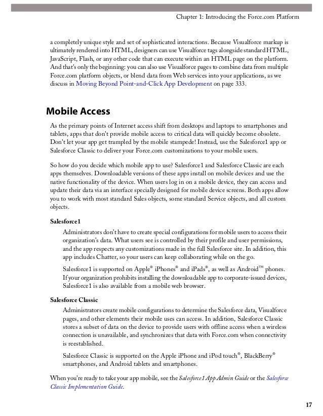 salesforce1 mobile app admin guide