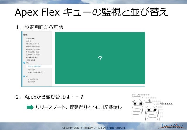 Copyright © 2014 TerraSky Co.,Ltd. All Rights Reserved. Apex Flex キューの監視と並び替え ? 1.設定画面から可能 2.Apexから並び替えは・・? リリースノート、開発者ガイド...