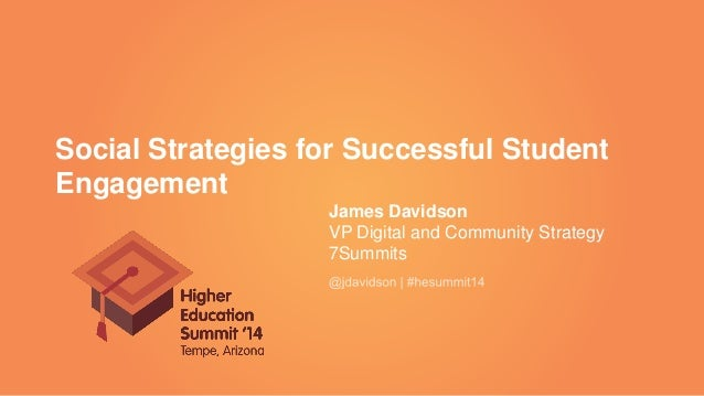 Social Strategies for Successful Student Engagement James Davidson VP Digital and Community Strategy 7Summits