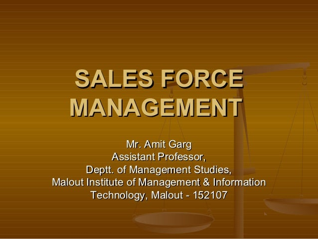 Selling and Sales Force Management Plan