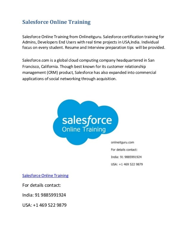 Salesforce Online Training Salesforce Online Training from Onlineitguru. Salesforce certification training for Admins, Dev...