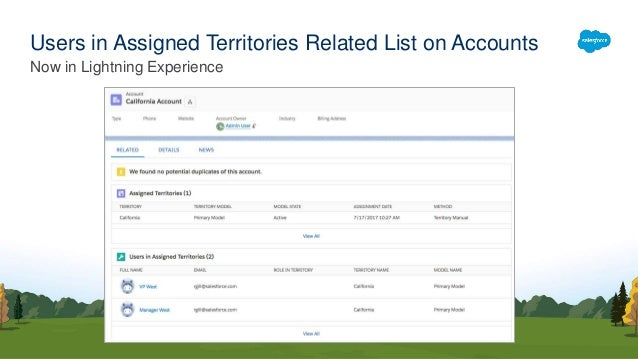 82296f508c64 ... notes rn sales features core territory management.htm  72. Now in  Lightning Experience ...