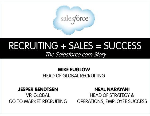 RECRUITING + SALES = SUCCESS The Salesforce.com Story MIKE EUGLOW HEAD OF GLOBAL RECRUITING JESPER BENDTSEN VP, GLOBAL GO ...