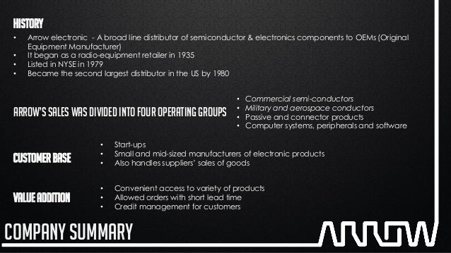 arrow electronics case study Strategy: arrow electronics vp of global logistics solutions tim kolbus provides components to electronics manufacturers all over the world, as well as a road map for their supply chain arrow electronics is one of the biggest companies serving manufacturers of electronics.