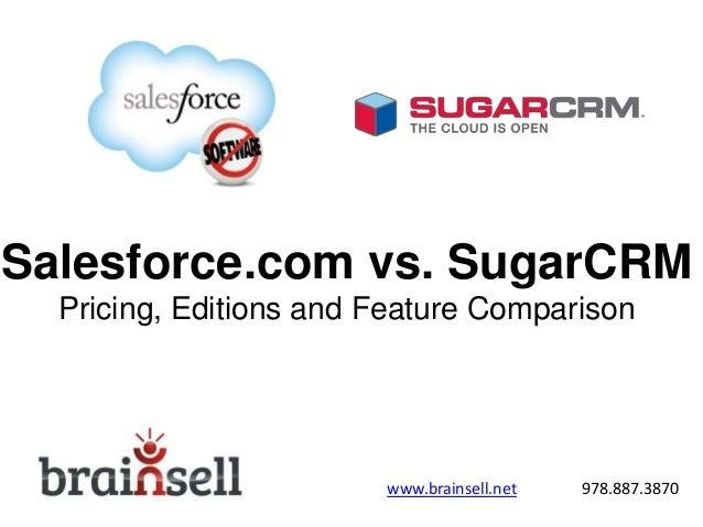 Salesforce.com vs. SugarCRM Pricing, Editions and Feature Comparison www.brainsell.net 978.887.3870