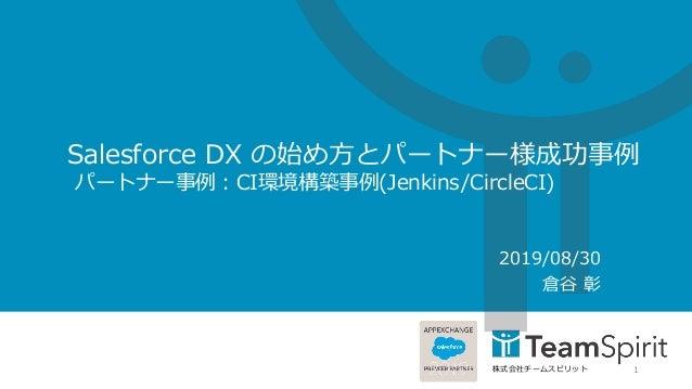 株式会社チームスピリット Salesforce DX の始め方とパートナー様成功事例 パートナー事例:CI環境構築事例(Jenkins/CircleCI) 2019/08/30 倉谷 彰 1