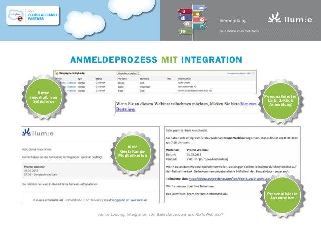 Anmeldeprozess mit Integration Daten innerhalb von Salesforce Personalisierter Link: 1-Klick Anmeldung Viele Gestaltungs- ...
