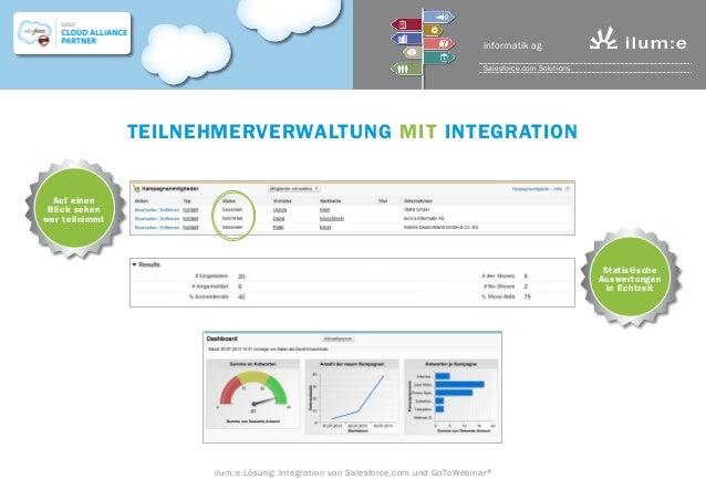 Teilnehmerverwaltung mit Integration Auf einen Blick sehen wer teilnimmt Statistische Auswertungen in Echtzeit ilum:e Lösu...