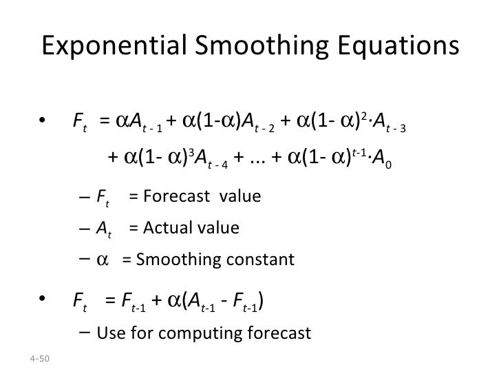 disadvantages of exponential smoothing Exponential smoothing is one of the most commonly used techniques because of its simplicity and its limited requirements for data exponential smoothing needs three types of data: an average of previous demand, the most recent demand, and a smoothing constant.