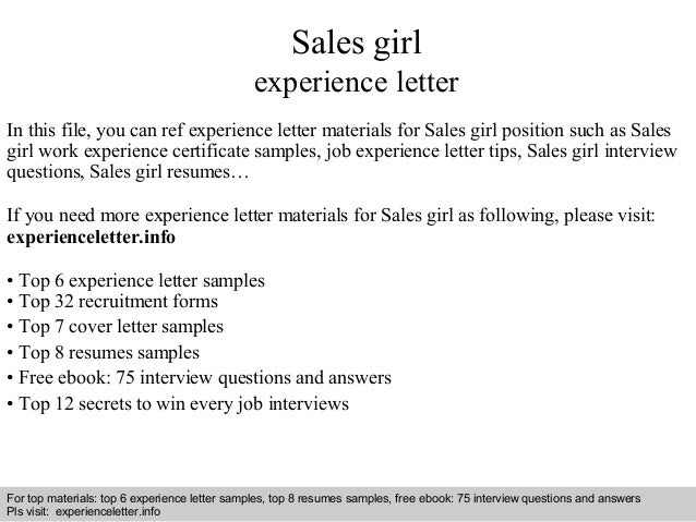Interview Questions And Answers U2013 Free Download/ Pdf And Ppt File Sales  Girl Experience Letter ...