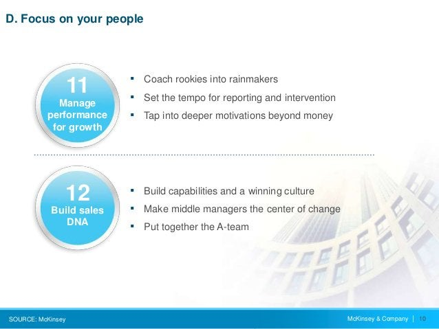 McKinsey & Company   10 D. Focus on your people SOURCE: McKinsey ▪ Coach rookies into rainmakers ▪ Set the tempo for repor...