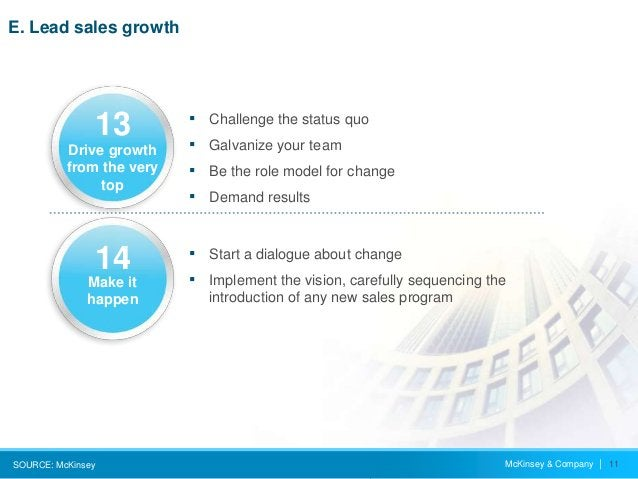 McKinsey & Company   11 E. Lead sales growth SOURCE: McKinsey ▪ Start a dialogue about change ▪ Implement the vision, care...