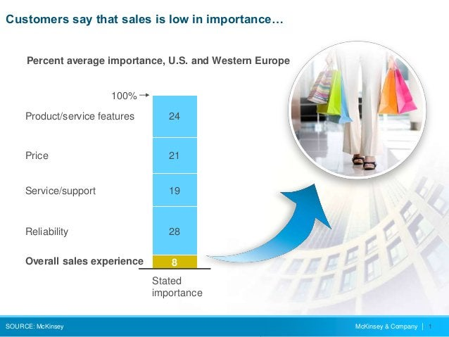 McKinsey & Company   1 Customers say that sales is low in importance… SOURCE: McKinsey Product/service features 100% Overa...