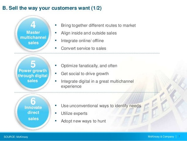 McKinsey & Company   7 B. Sell the way your customers want (1/2) SOURCE: McKinsey ▪ Bring together different routes to mar...