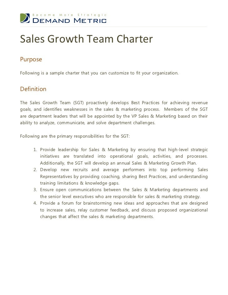 Sales Growth Team CharterPurposeFollowing Is A Sample Charter That You Can Customize To Fit Your Organization