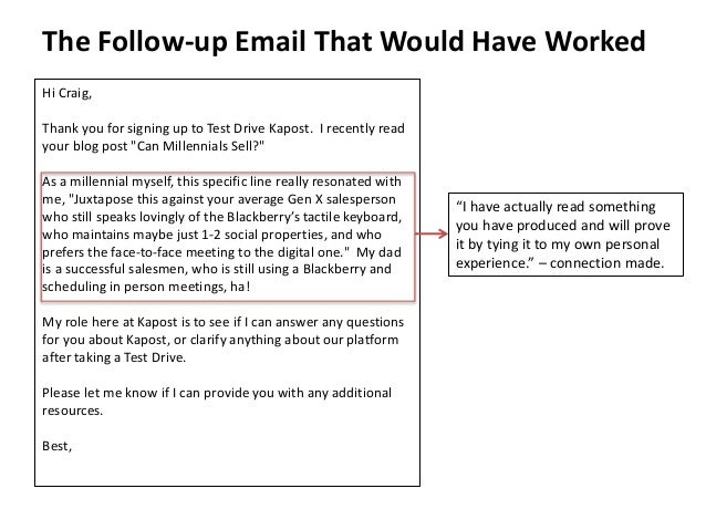 """The Follow-up Email That Would Have Worked  """"I have actually read something  you have produced and will prove  it by tying..."""