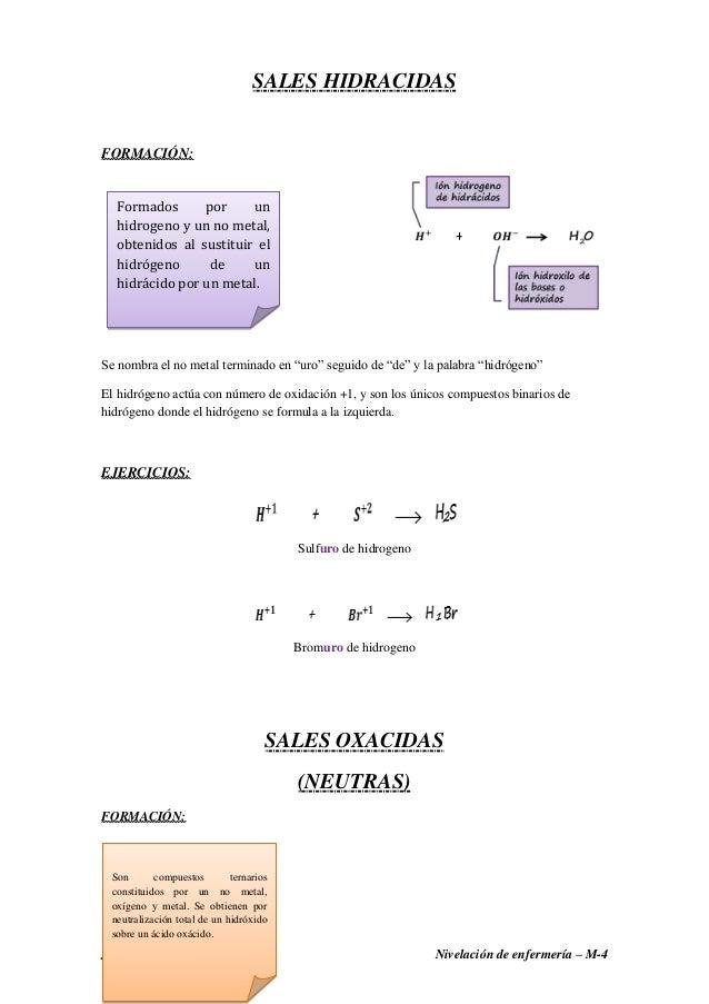"""Joselyn Quimis Garcia Nivelación de enfermería – M-4 SALES HIDRACIDAS FORMACIÓN: Se nombra el no metal terminado en """"uro"""" ..."""
