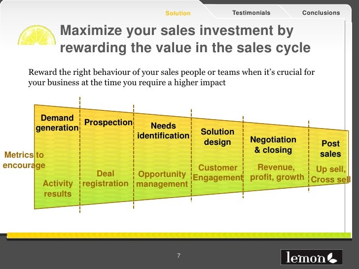 Solution          Testimonials       Conclusions             Maximize your sales investment by             rewarding the v...