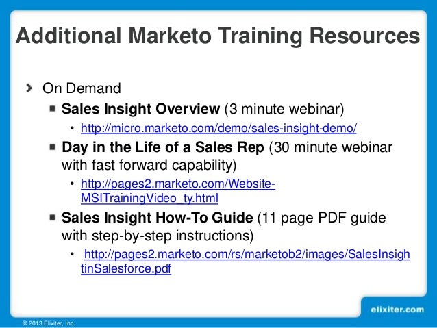 Marketo Sales Insight Benefits Overview for Sales Teams