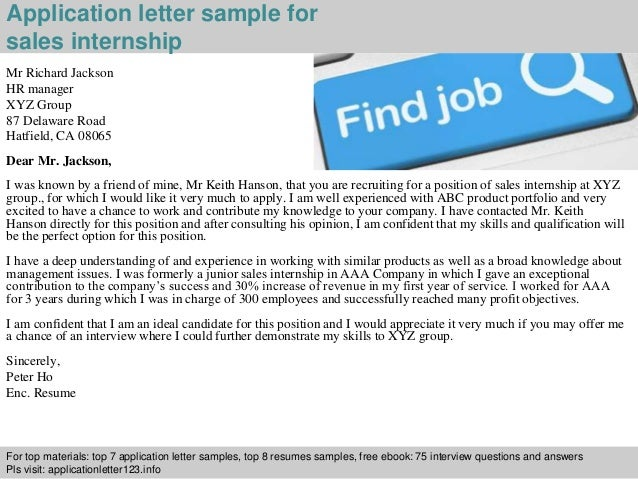 Sales internship application letter