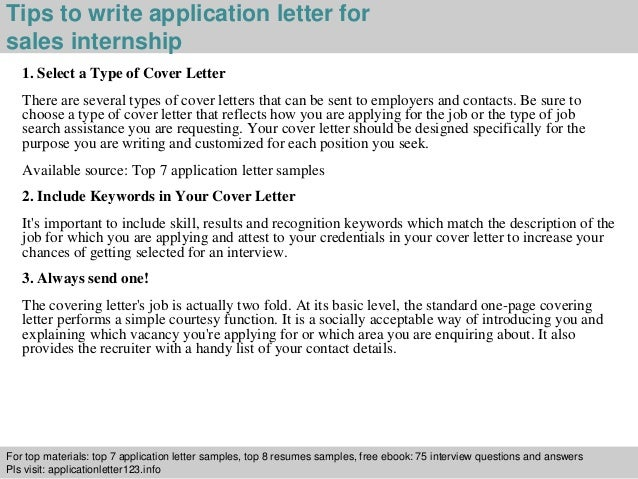 Elegant ... 3. Tips To Write Application Letter For Sales Internship ...
