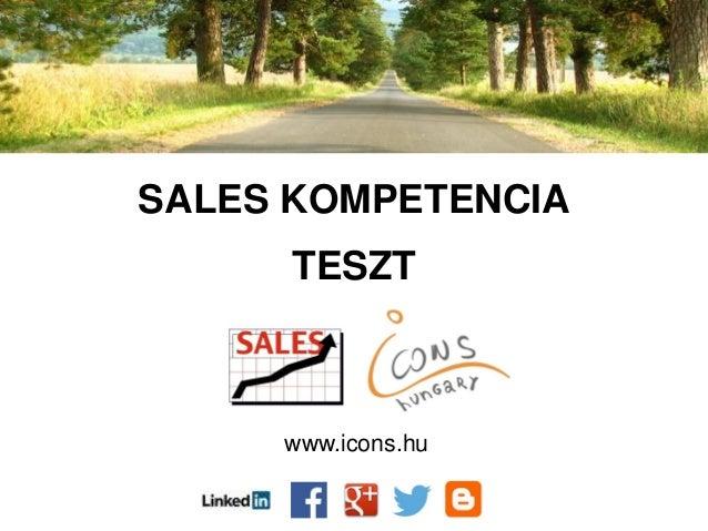 SALES KOMPETENCIA TESZT www.icons.hu