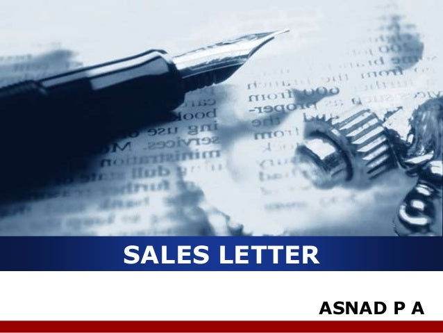 SALES LETTER ASNAD P A