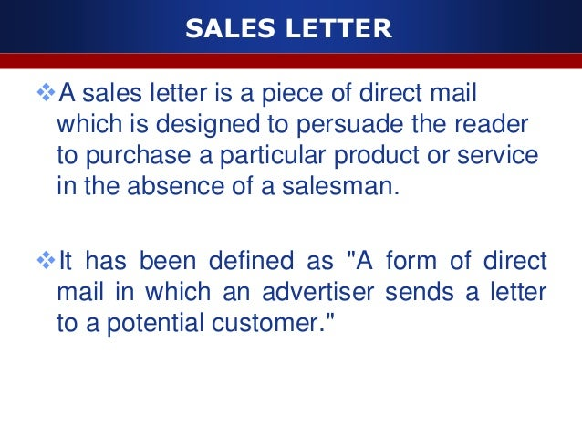 SALES ...  Persuasive Sales Letter