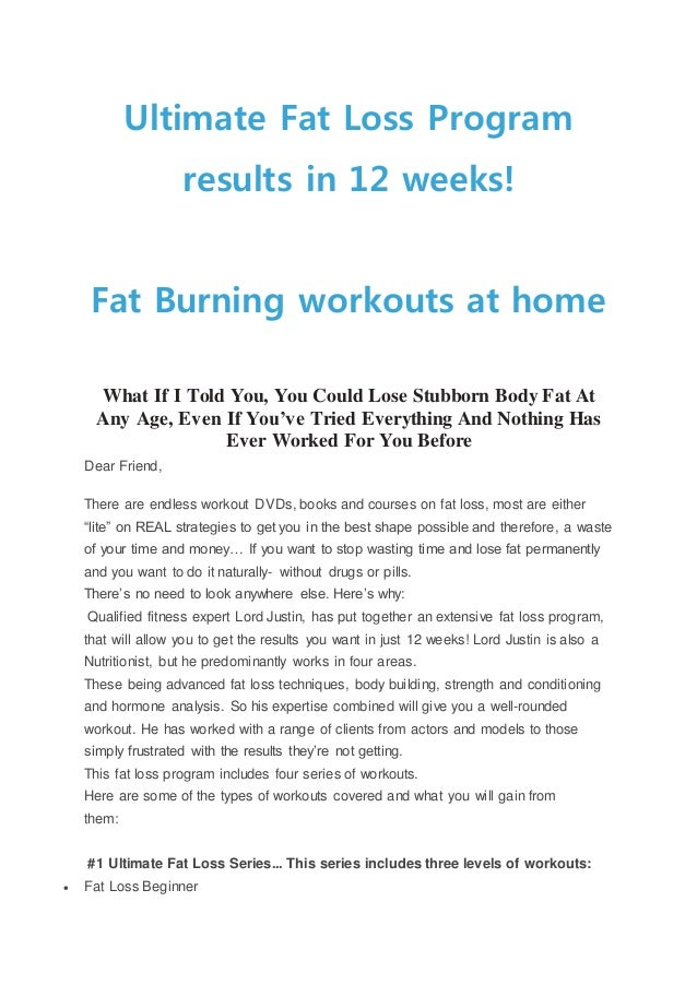 Ultimate Fat Loss Program Results In 12 Weeks Fat Burning Workouts