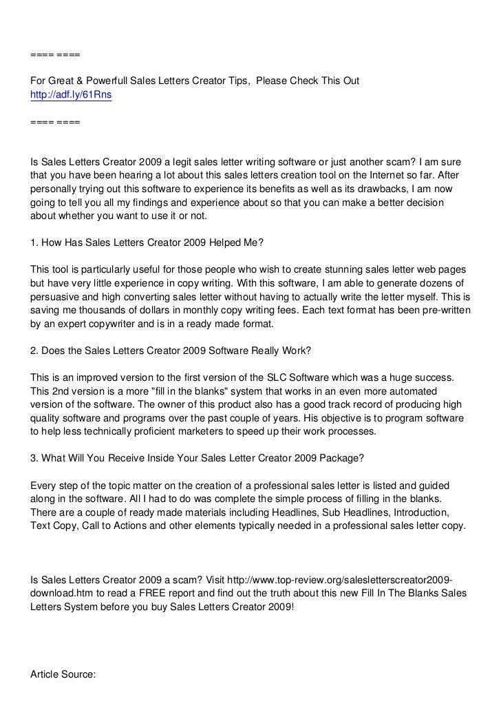 U003du003du003du003dFor Great U0026 Powerfull Sales Letters Creator Tips ...  Professional Sales Letter