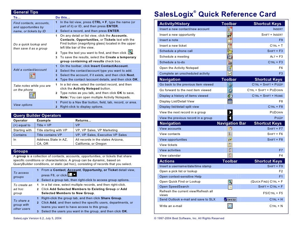 Sales logix quick reference
