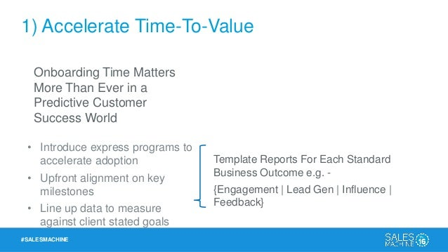 #SALESMACHINE 1) Accelerate Time-To-Value Research Buy Onboard Use Onboarding Time Matters More Than Ever in a Predictive ...