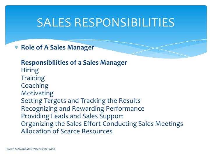 Sales management - Back office roles and responsibilities ...