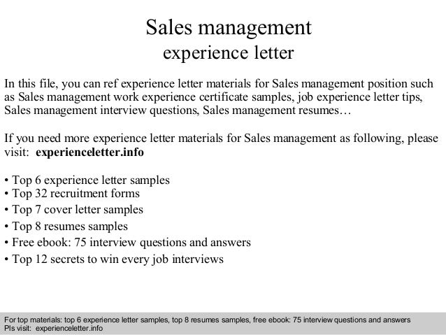 interview questions and answers free download pdf and ppt file sales management experience letter