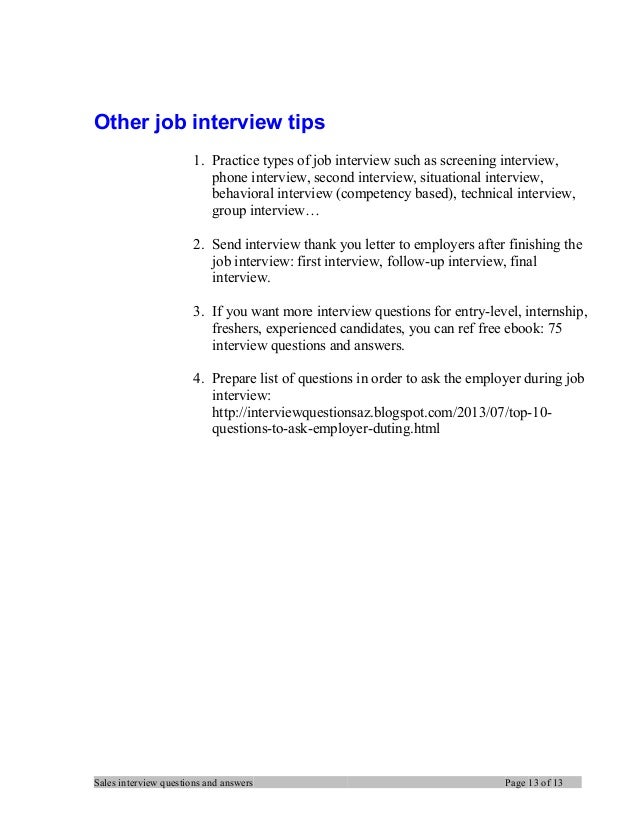 Sales manager interview questions and answers