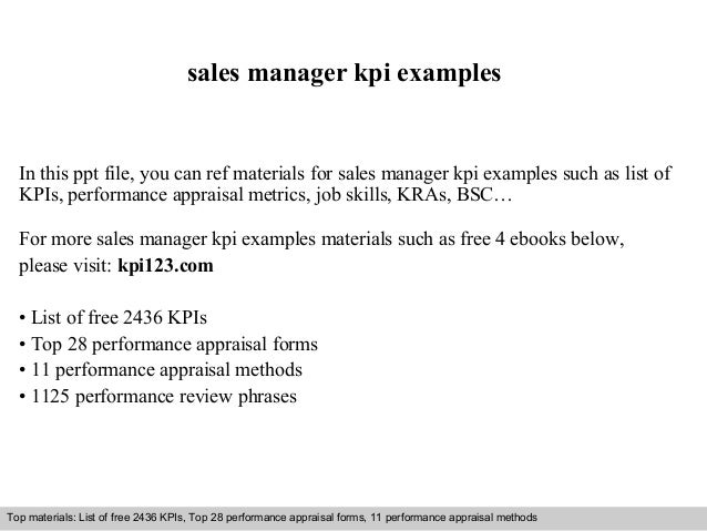 Sales manager kpi examples for Sales key performance indicators template
