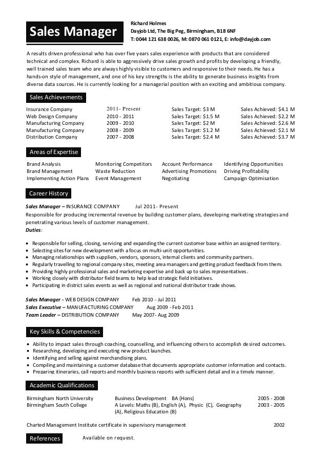 Sales Manager Cv Sample For Students