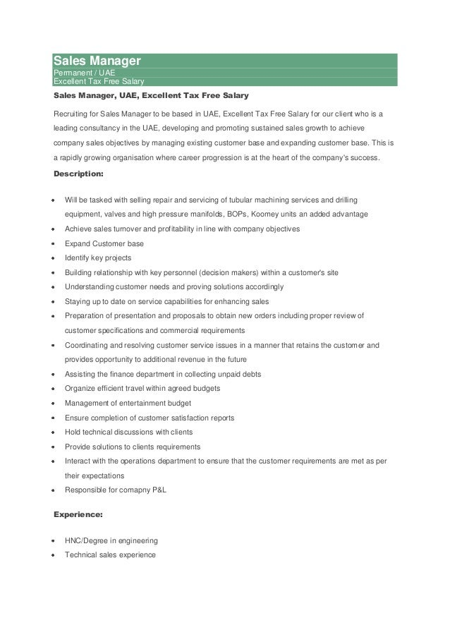 Sales Manager Permanent / UAE Excellent Tax Free Salary Sales Manager, UAE, Excellent Tax Free Salary Recruiting for Sales...